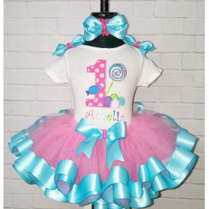 Sweet Candy Treats Hot Pink  & Turquoise Personalized Birthday Ribbon Tutu 3 Pc Set