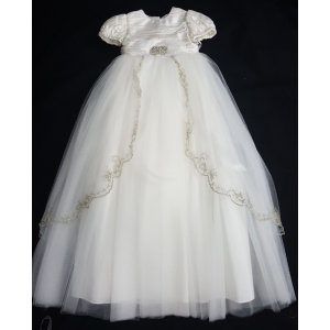 "Christie Helene ""One of A Kind"" Ivory Silk & Tulle Crystals Beads Christening Gown & Hat Set (6m)"