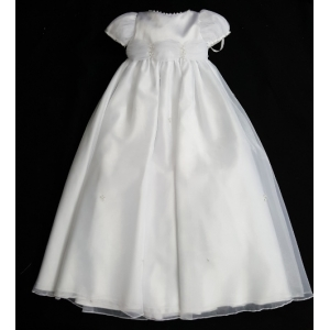 Christie Helene White Organza Christening Gown, Hat, Bib & Bootie Crystals 4 Piece Set (6m)