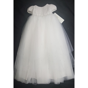 "Christie Helene ""Dana"" White Silk & Crystal Christening Gown & Hat Set (Size 9 months)"