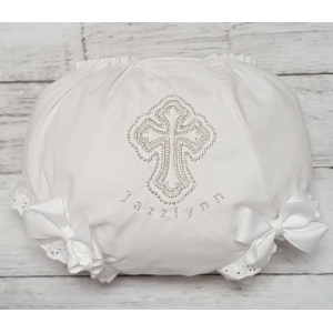 White & Silver Cross Personalized Christening Diaper Cover Bloomers