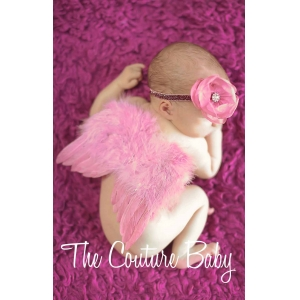 Dusty Rose Feather Newborn Angel Wings