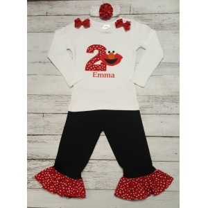 Birthday Elmo Personalized Shirt & Ruffle Pants & Headband Set