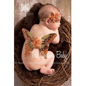 Golden Bronze & Rust Floral Feather Embellished Wing & Headband Photo Prop