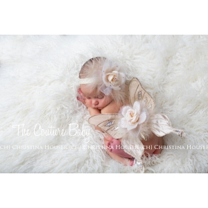 Ivory Cream Marabou Feather Jeweled Accent Butterfly Wings & Headband 2 Piece Set