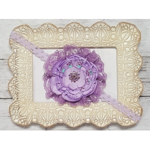 Lovely Lavender & Lace Crystal Vintage Floral Headband