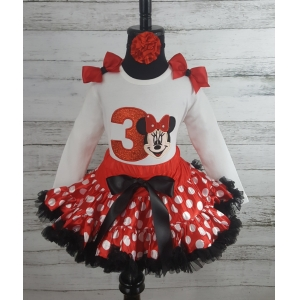 Red & White Minnie Mouse Glitter Personalized Birthday Petti Skirt and Shirt 3 Pc Set