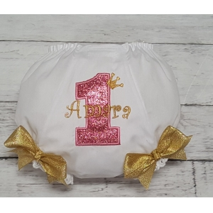 Pink Glitter & Gold Personalized Name & Age Diaper Cover Bloomers