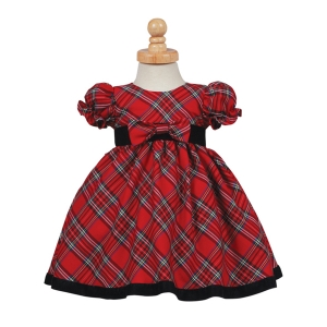 Red Plaid Velvet Trim Traditional Christmas Holiday Dress (3-6m or 12-18m)