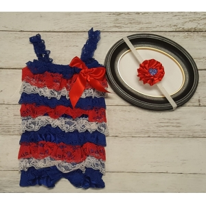 Red White Blue Lace Petti Romper & Headband Set Special