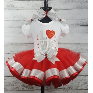 VValentine Red & Silver Glitter & Sparkle LOVE Ribbon Tutu 3 Piece Set