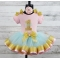 1st Birthday Personalized Pink Aqua & Gold Ribbon Birthday Tutu 3 Pc Set