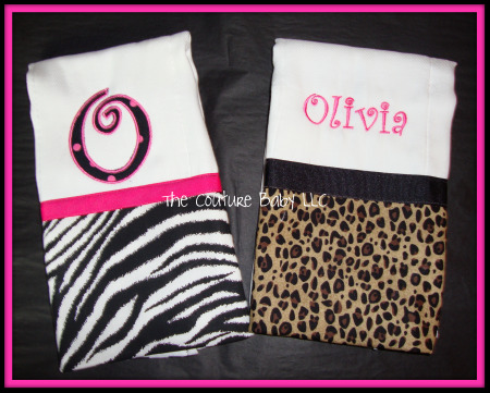 cf95694074 Animal Print Burp Cloths - The Couture Baby   Child Boutique