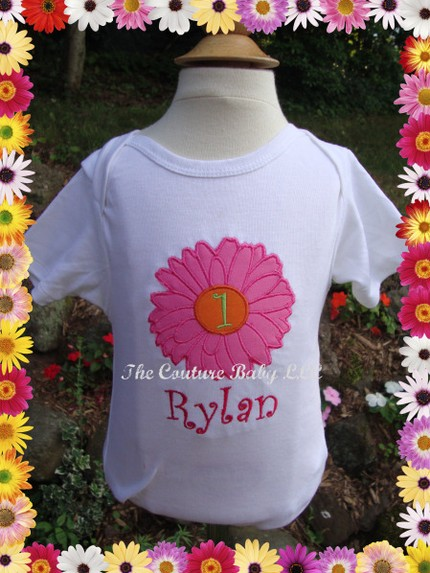 Flower Power Daisy Personalized Onesie Or Shirt