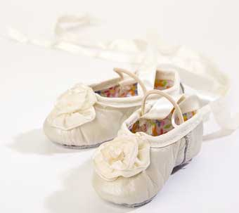 f8cca11d67ce Ivory Ribbon Rose Leather Ballet Slippers - The Couture Baby   Child ...