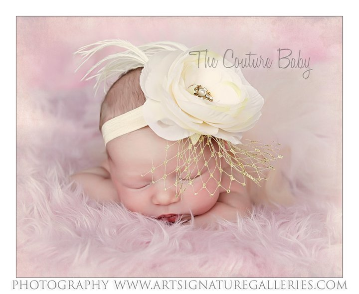 Ivory Shabby Chic Flower Ostrich Feather Baby Headband - The Couture Baby    Child Boutique 627fe06da50