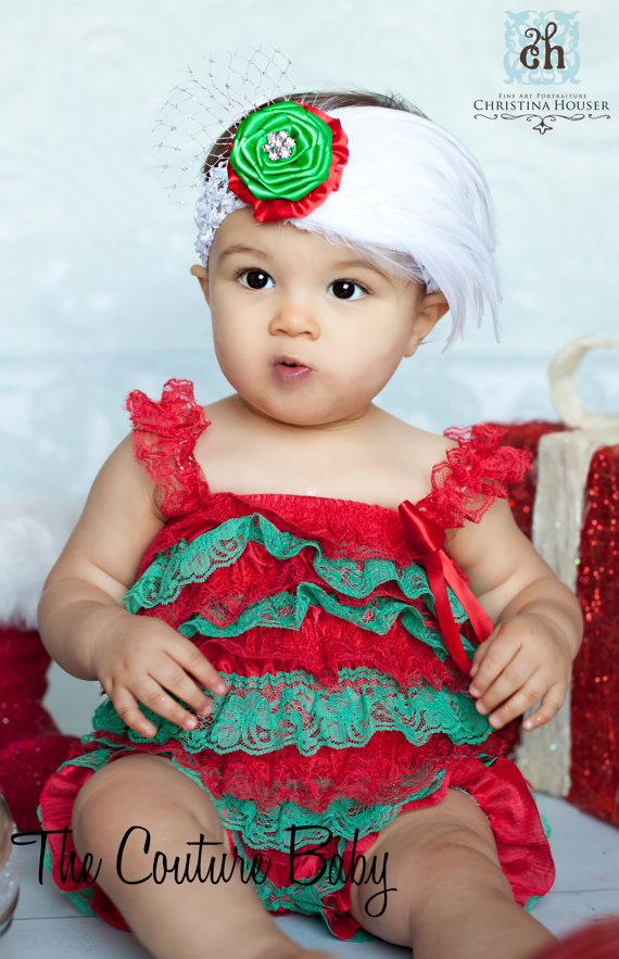 36d582b0c1b98 Christmas Red & Green Lace Petti Romper