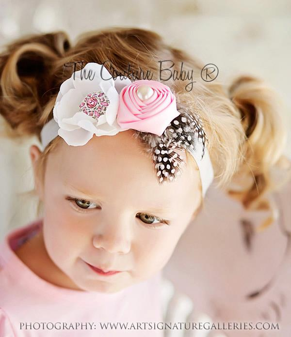 Pink Rosette   Cream Flower Headband- The Couture Baby   Child Boutique 7b1073b01ae