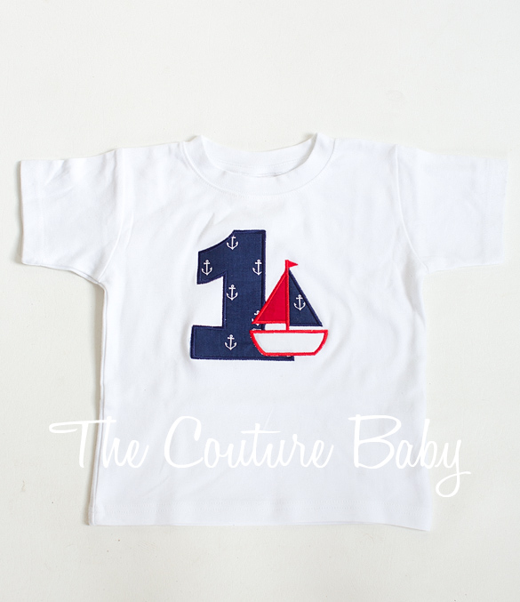 Nautical Anchor First Birthday Personalized T Shirt Or Onesie