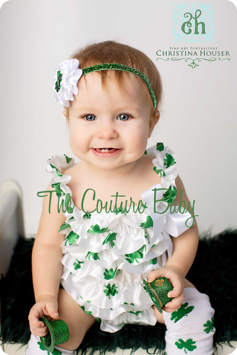 Shamrock Satin Petti Romper The Couture Baby Child Boutique
