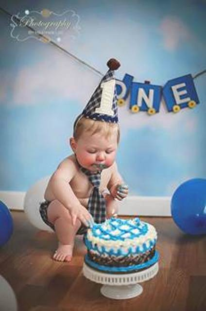 Pleasing Boys 1St Birthday Navy Plaid 3 Pc Cake Smash Set The Couture Personalised Birthday Cards Veneteletsinfo