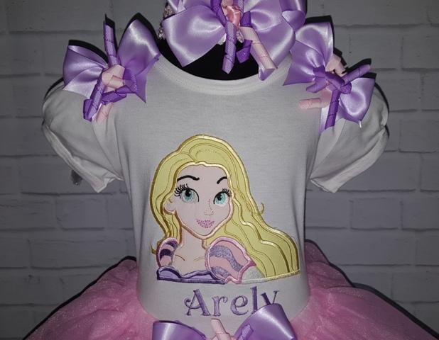 Rapunzel Pink Lavender 3 Pc Ribbon Tutu Personalized Birthday Set