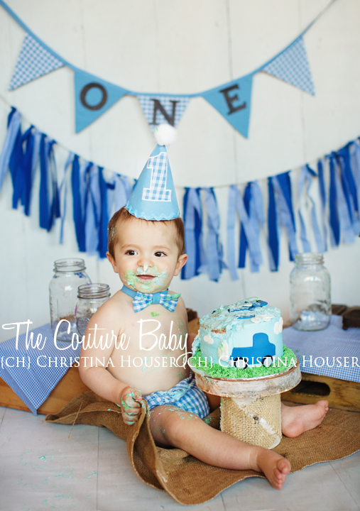 Blue White Gingham Boys 3 Pc Cake Smash Birthday Set The Couture Baby Child Boutique
