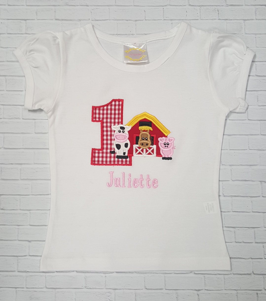 Girls Farm Theme Personalized Birthday Shirt Or Onesie