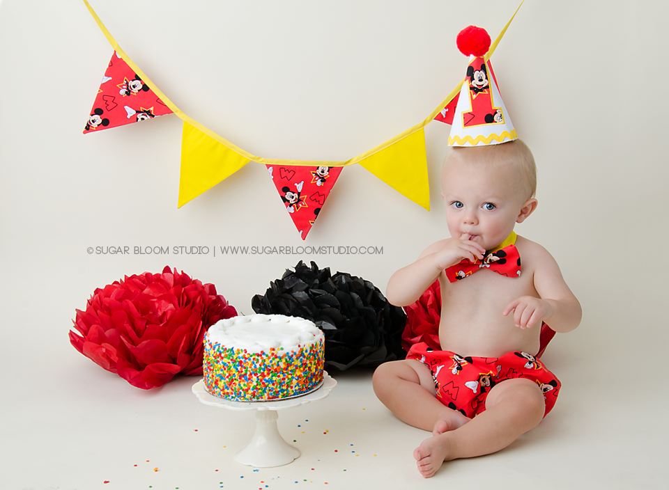 Red Mickey Boys 1st Birthday Cake Smash 3 Pc Set The Couture Baby
