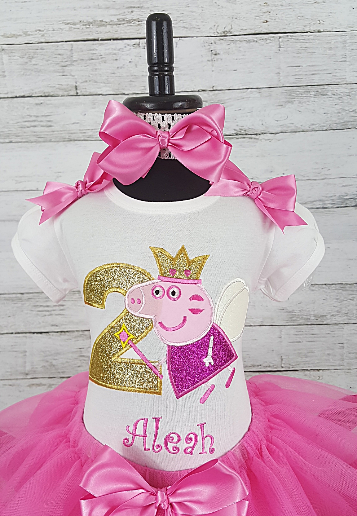 Peppa Pig Hot Pink Personalized Birthday Shirt Ribbon Tutu 3 Piece Set