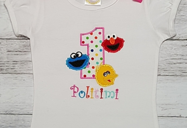 ELMO Cookie Monster And Big Bird Personalized 1st Birthday Shirt Onesie Tank Top Age 1 2 3 4 5 The Couture Baby Child Boutique