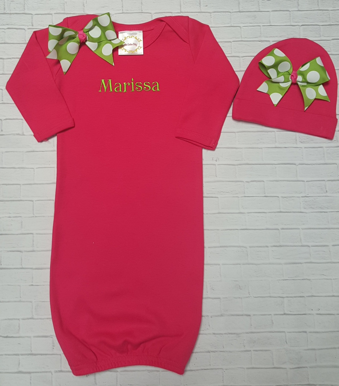 Hot Pink & Lime Green Personalized Layette Gown - The Couture Baby ...