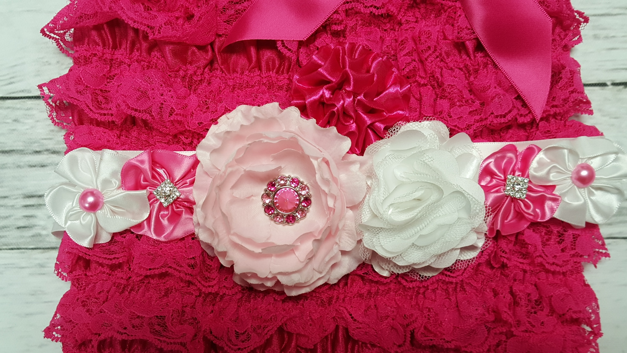 Hot Pink Lace Ruffle Petti Romper With White Pink Flower Sash And