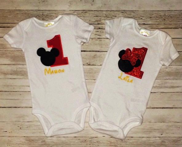 1st Birthday Twin Set Mickey Amp Glitter Minnie Onesie The