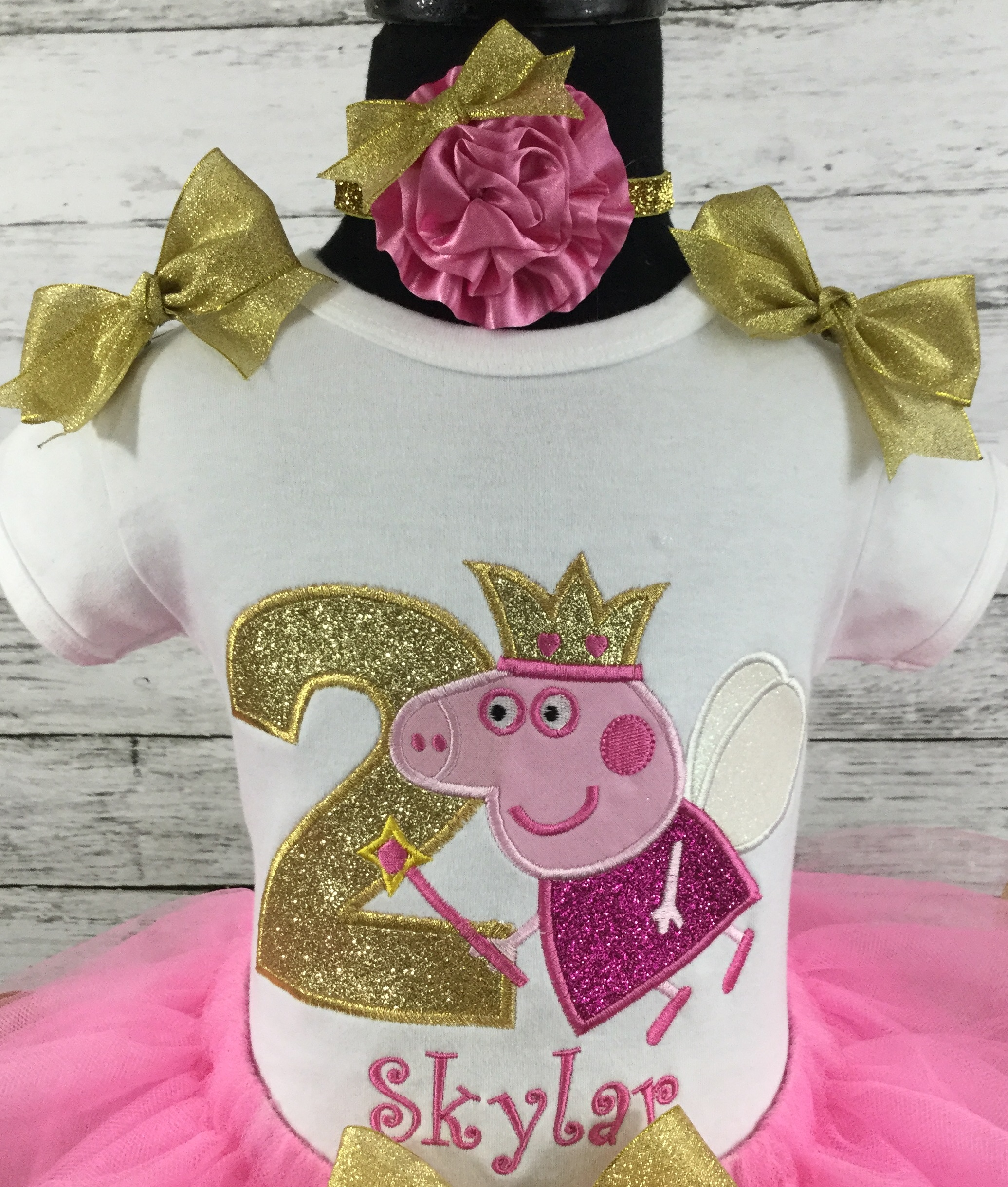 Peppa Pig Birthday Personalized Hot Pink And Gold Ribbon