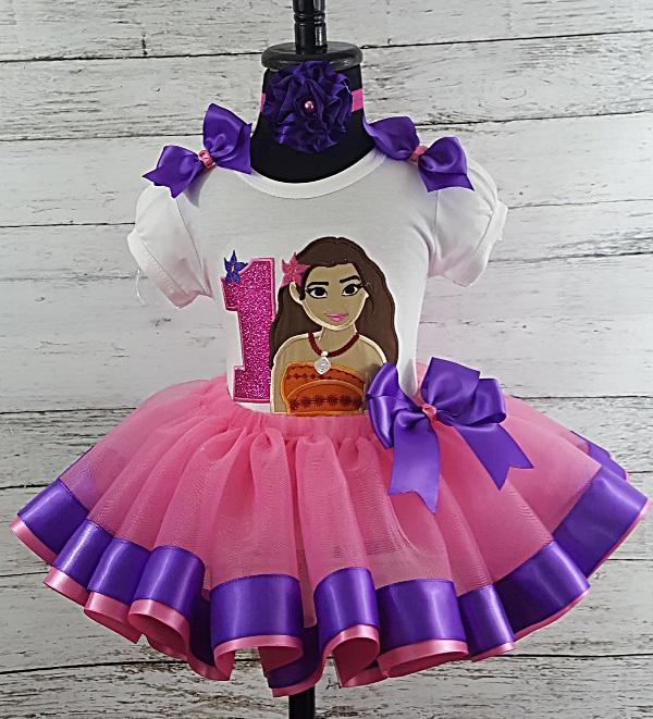 c1a7c3526 Moana Hot Pink & Purple Personalized Birthday Shirt & Ribbon Tutu 3 Piece  Set