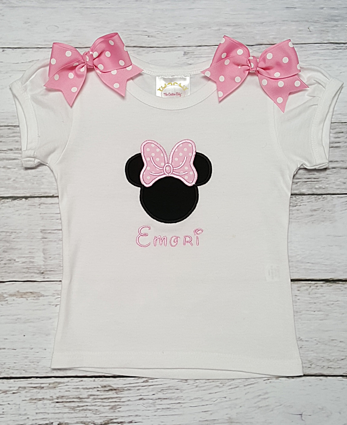 ee98a7651 Minnie Mouse Pink & White Polka Dot Personalized Shirt or Onesie- The  Couture Baby & Child Boutique