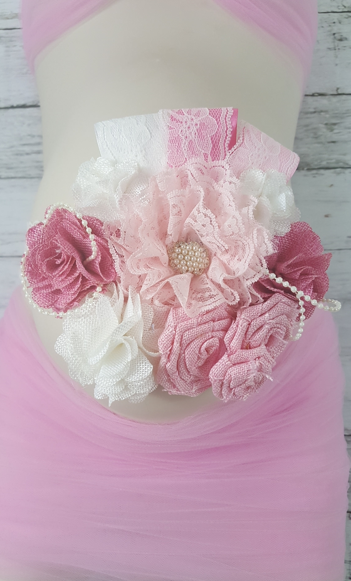 Rustic Pink Burlap Flowers Lace Pearls Maternity Belly Sash Photo
