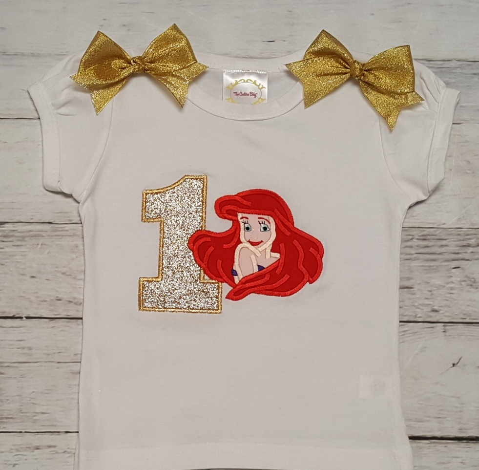 Ariel Little Mermaid Gold Green Personalized Birthday Shirt Onesie Or Tank Top The Couture Baby Child Boutique
