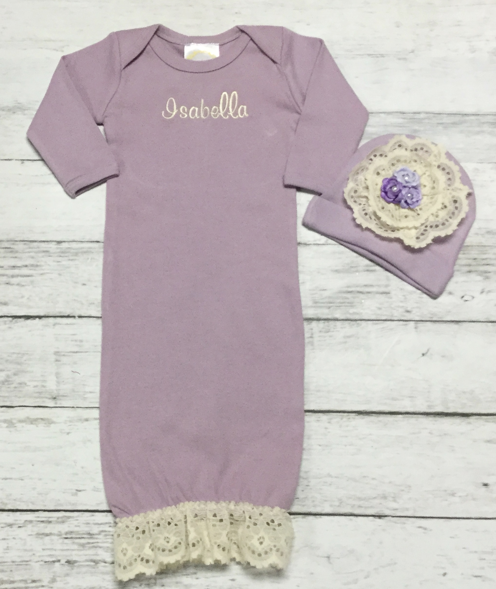 Vintage Ivory Lace & Lavender or Pink Layette Personalized Gown ...