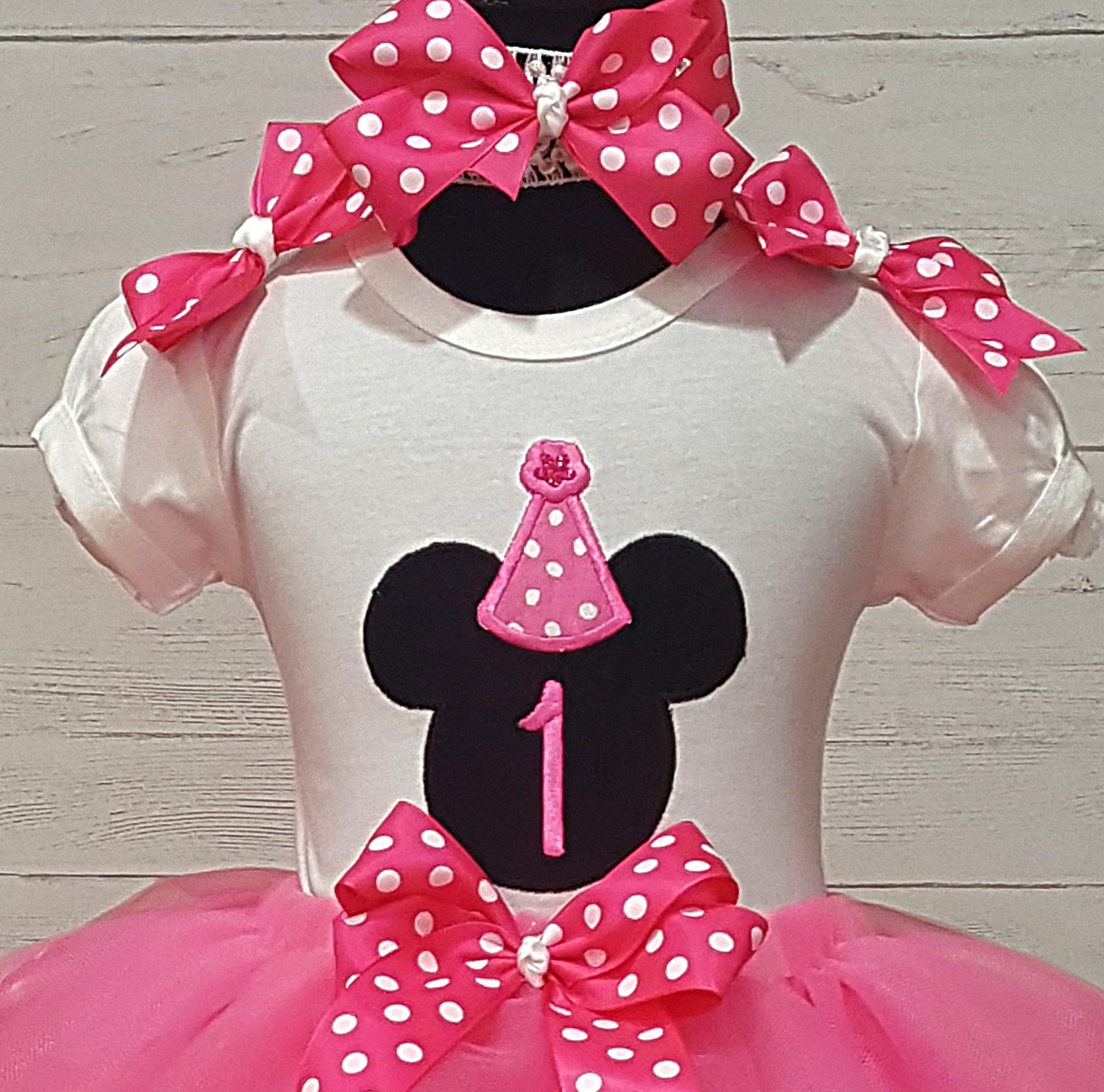 d41f215fa MINNIE MOUSE 1st Birthday Hot Pink and White Polka Dot Personalized Shirt &  Ribbon Polka Dot Ribbon Tutu 3 Piece Set-The Couture Baby & Child Boutique