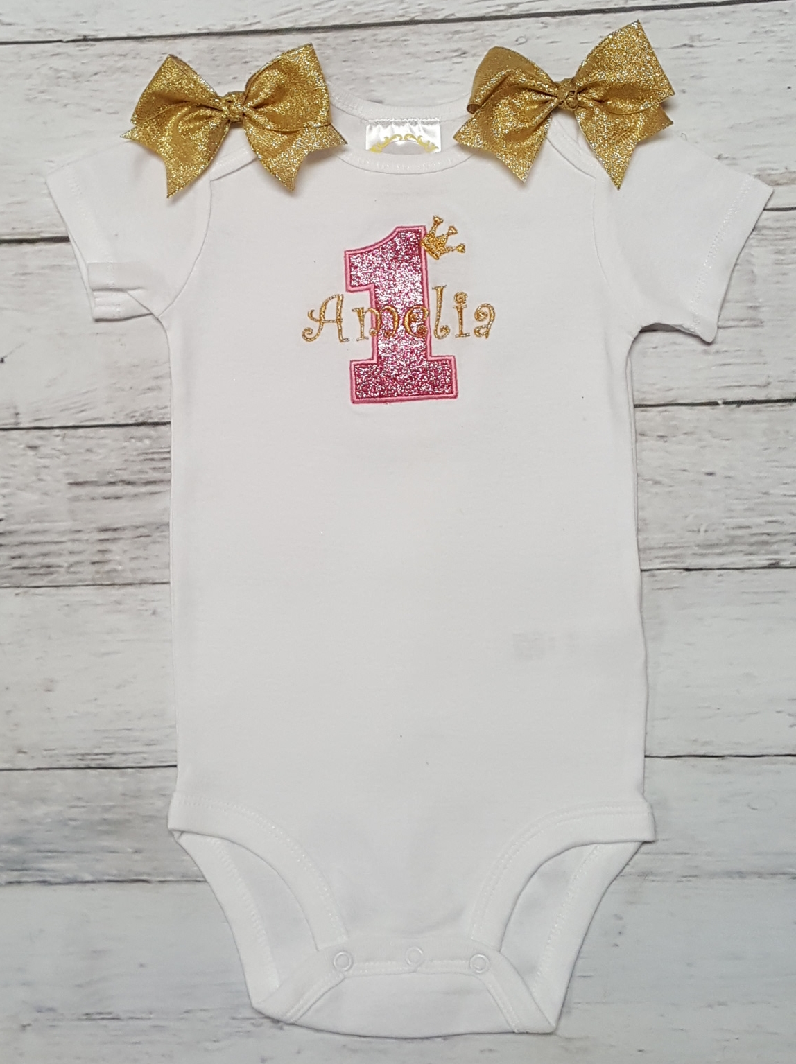 Custom Name Sparkle Princess Crown Cute Baby Girl Clothes Onesies Personalized
