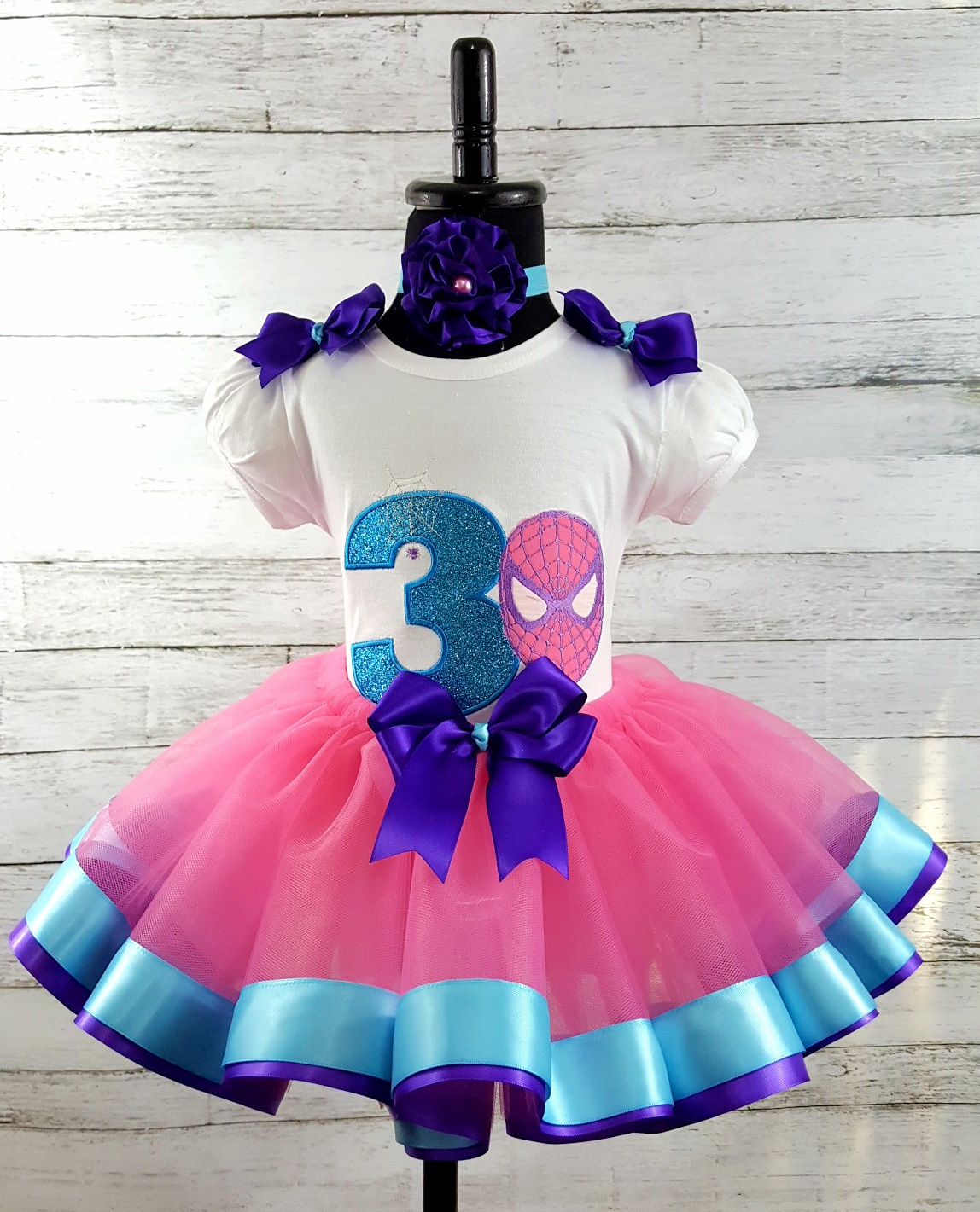 75bdcedc5 Birthday Girl SPIDER MAN Pink Purple Turquoise 3 Piece Personalized Ribbon  Tutu Set-The Couure Baby & Child Botuique