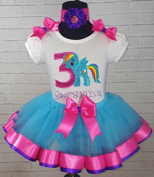 Rainbow Dash My Little Pony Birthday Turquoise Hot Pink And Purple Ribbon Tutu 3 Personalized