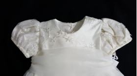 Christie Helene Ivory Silk Beaded Pearl Christening Gown & Hat Set (6m)