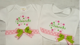 Princess Onesie & Bib 2 Piece Set layette gift set