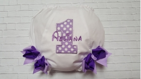 Purple Lavender Polka Dot Personalized Name 1st Birthday Diaper Cover Bloomers