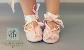 Pink Butterfly Organza Leather Ballet Slippers