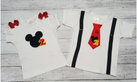 Mickey Personalized Birthday Shirt-Onesie or Tank Top Twin Brother & Sister Set