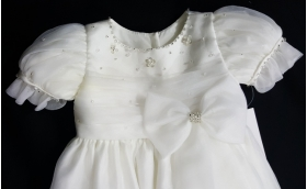 Christie Helene Ivory Organza Crystals & Bead Bow Christening Gown-Hat-Booties & Bib Set (6 months)